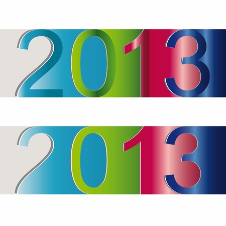 Cute and colorful sticker on New Year 2013 Stock Vector - 15017724