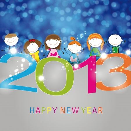 Cooncept card on New Year 2013 with happy kids Stock Vector - 15017744