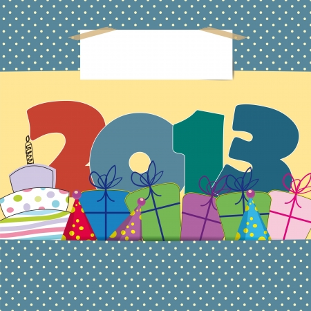 Cute card on New Year 2013 with funny numbers Stock Vector - 15017731