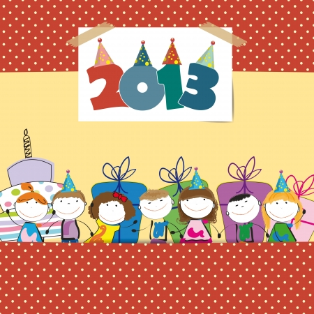 Cute card on New Year 2013 with happy kids Stock Vector - 15017735