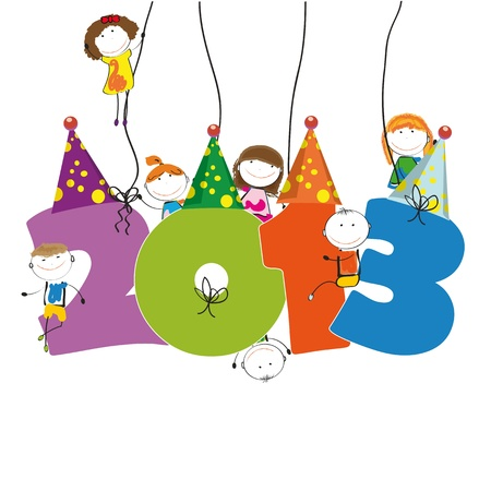 Cute card on New Year 2013 with happy kids Stock Vector - 15017734