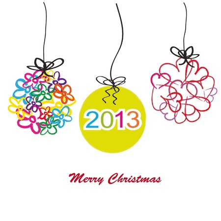 simple background: Abstract cartoon card on Christmas with flowers and hearts