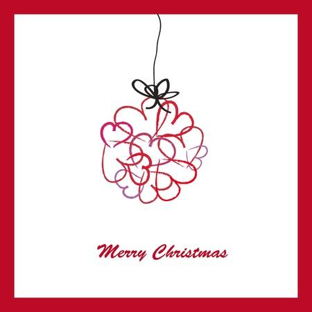 Abstract cartoon card on Christmas with hearts Stock Vector - 15312852