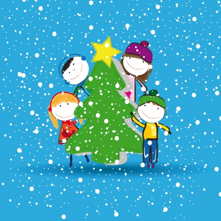 winter stylized: Small and happy kids in winter with christmas tree