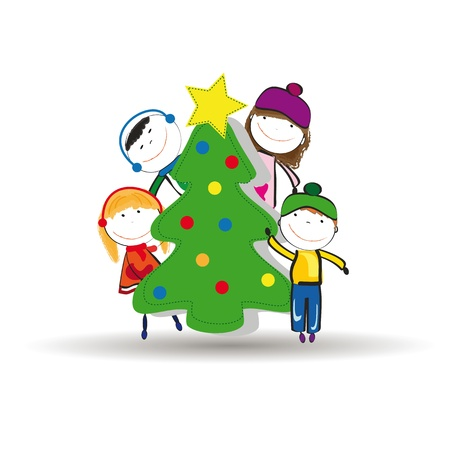 Small and happy kids in winter with christmas tree