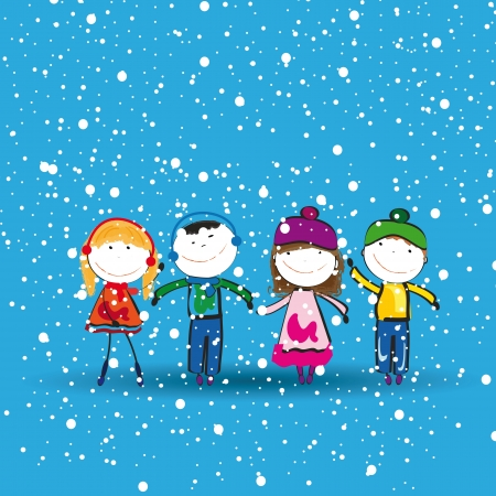 children group: Small and happy kids in winter with snow Illustration