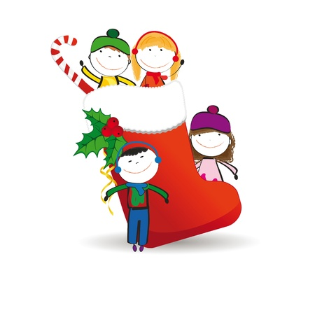 animate: Small and happy kids in winter with christmas icon