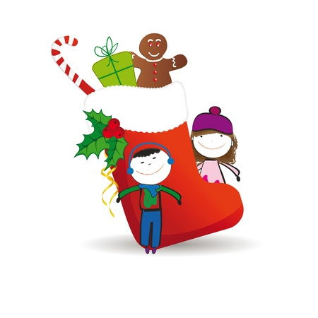 Small and happy kids in winter with christmas icon Vector