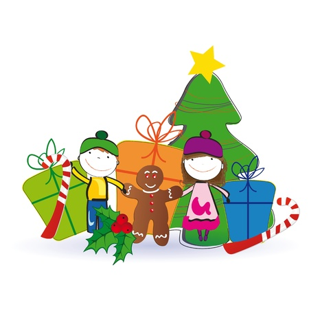 animated: Small and happy kids in winter with christmas tree