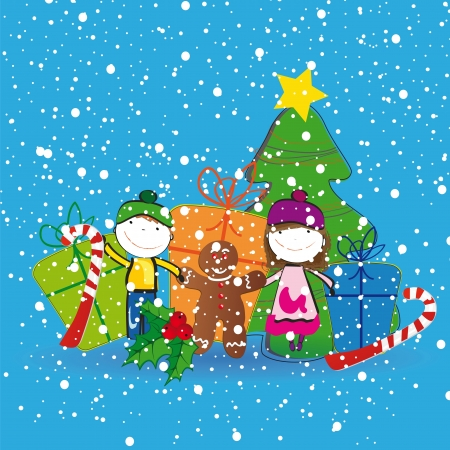 Small and happy kids in winter with christmas tree Vector