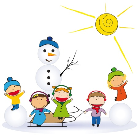 winter stylized: Small and happy kids in winter with snowman Illustration