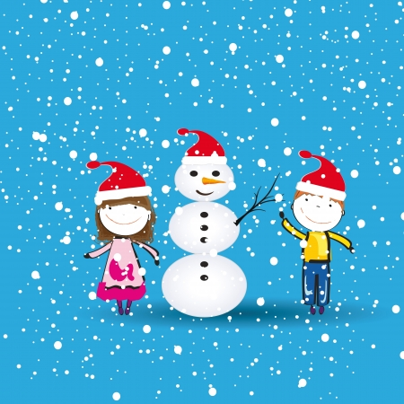 Small and happy kids in winter with snowman Stock Vector - 15554598