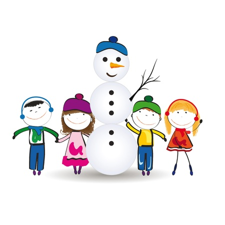 Small and happy kids in winter with snowman Stock Vector - 15554602