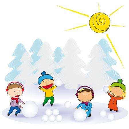 winter fun: Kleine en gelukkige kinderen in de winter met sneeuw Stock Illustratie