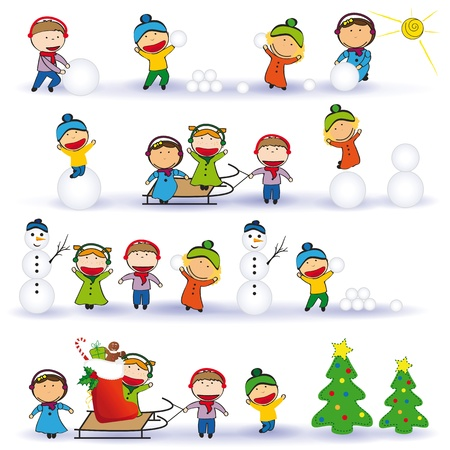 winter fun: Winter and Christmas background with happy kids
