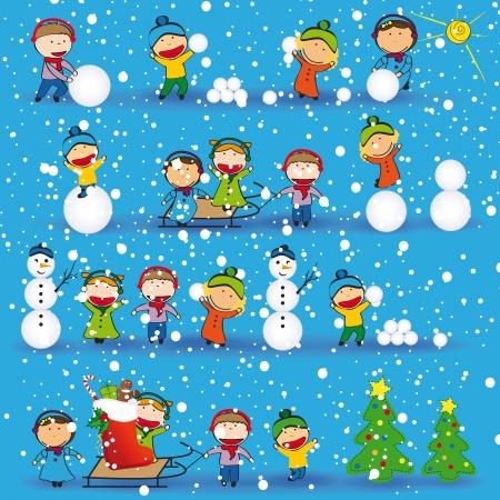 행복한 아이들이 겨울과 크리스마스 배경