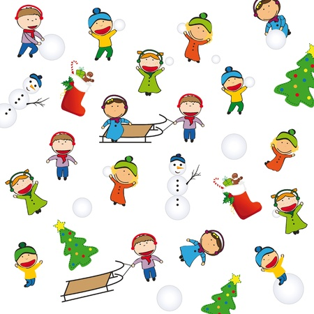 diversity children: Winter and Christmas background with happy kids