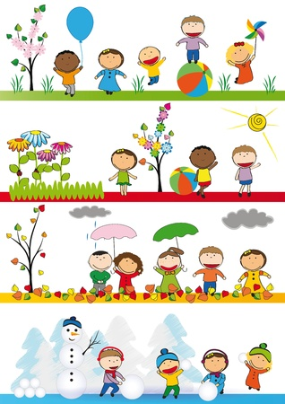 happy kids playing: Spring, summer, autumn and winter - happy kids