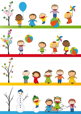 sings: Spring, summer, autumn and winter - happy kids