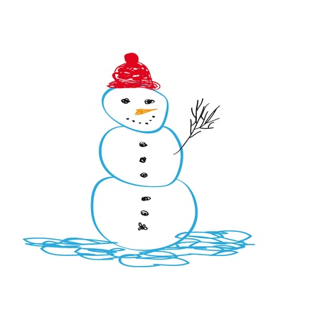 Cute and simple Christmas card with snowman  Vector