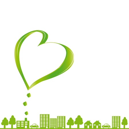works: Creative concept ecological fabric and green city Illustration