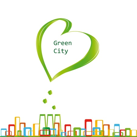 Creative concept ecological fabric and green city Vector