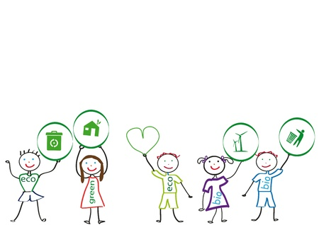 sings: Small and happy kids with ecology symbol Illustration