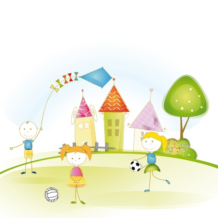 simple sky: Colorful and cute kids plaing in garden