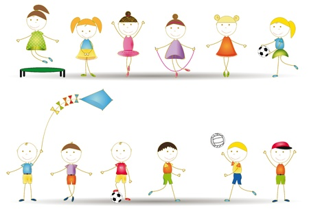 animate: Playing, dancing and jumping happy boys and girls