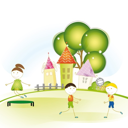 Colorful and cute kids plaing in garden Vector
