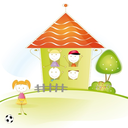 kids football: Colorful and cute kids plaing in garden and home Illustration