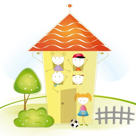 Cute and colorful illustration with kids in house Vector