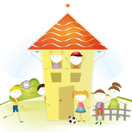 row houses: Playing happy and cute boys and girls Illustration