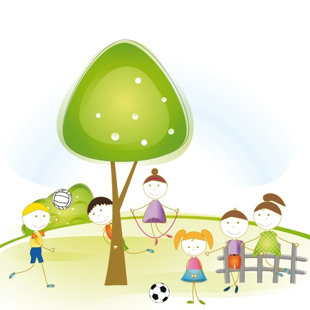 Colorful and cute boys and girls playing in garden  Vector