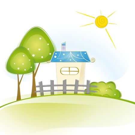 dream house: Colorful view with cute house and trees Illustration