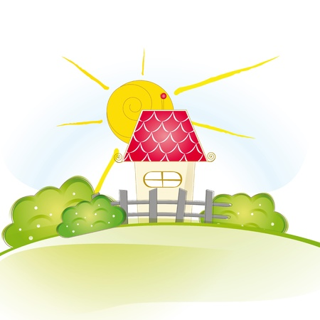 row of houses: Colorful view with cute house and trees Illustration