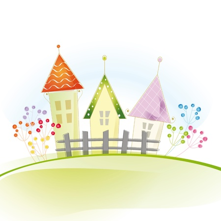 Colorful view with cute house and trees Vector