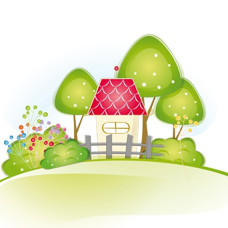 Colorful view with cute house and trees Stock Vector - 16005520