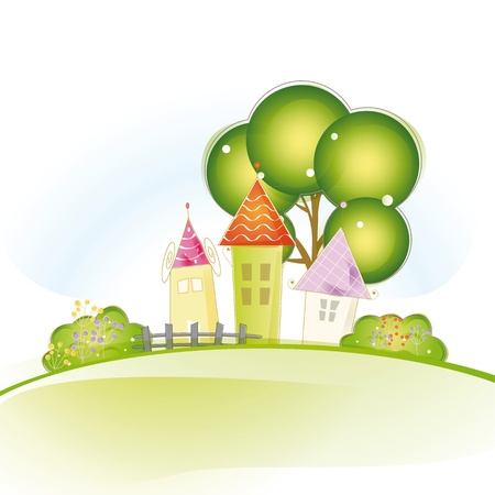 row houses: Colorful view with cute house and trees Illustration