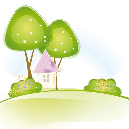 violet residential: Colorful view with cute house and trees Illustration