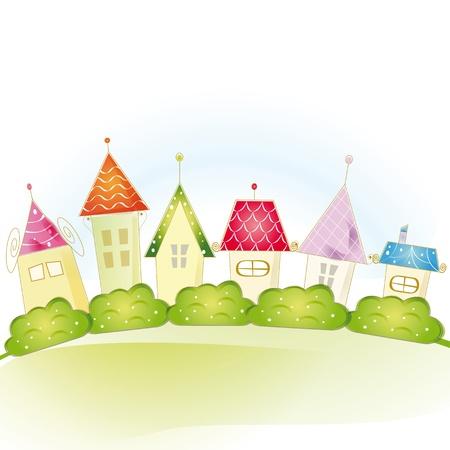 row of houses: Vista colorida linda con la casa y los �rboles