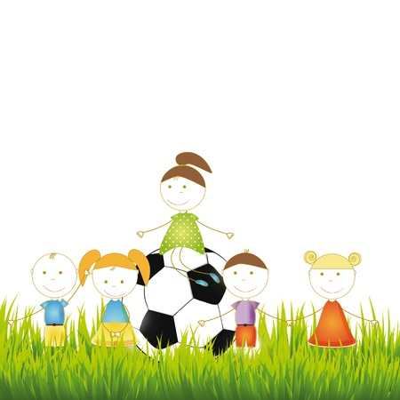 Cute boys nd girls on meadow with ball Vector