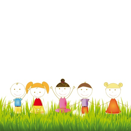 cartoon spring: Cute and happy girls and boys on grass Illustration
