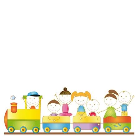 zug cartoon: Nette Jungen nd M�dchen reisen in Personenzug Illustration