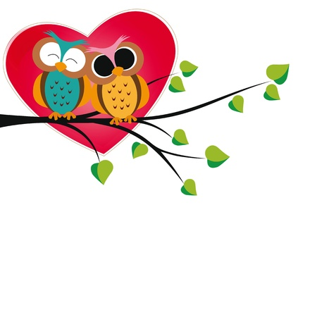 valentines card: Cute and  happy owls on tree with hearts
