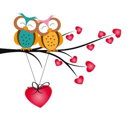 buhos: Búhos lindos y felices en el árbol con corazones