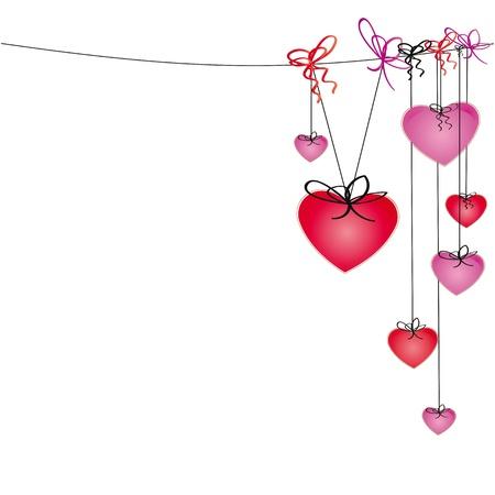 Leuke en kleurrijke hartjes hangen op merk Stock Illustratie