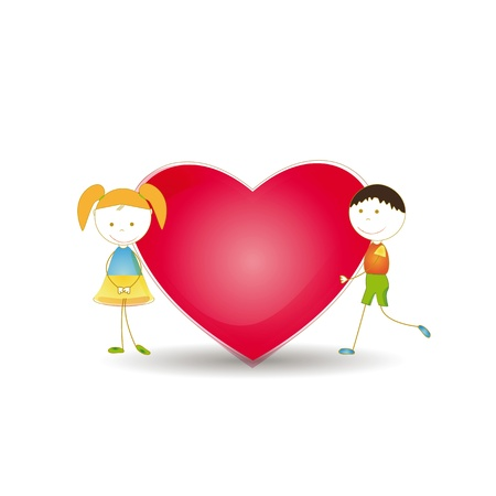 Cute and happy kids with red heart Stock Vector - 16005497