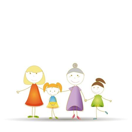 familia animada: Feliz famili: Abuela y madre y sus hijas Vectores