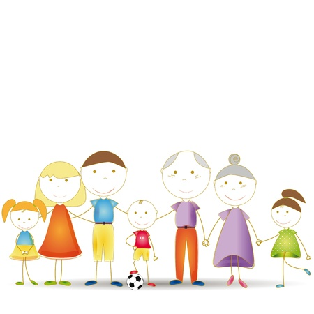 familia animada: Toda la familia feliz: los niños y los padres y abuelos Vectores